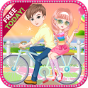Bicycle trip with love icon