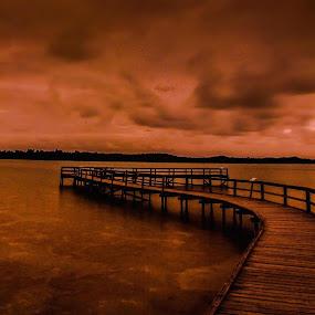Moody Jetty by Lourens Lee Wildlife Photography - Buildings & Architecture Bridges & Suspended Structures ( clouds, water, moody, architectural, bridge, lourens lee, bridges )