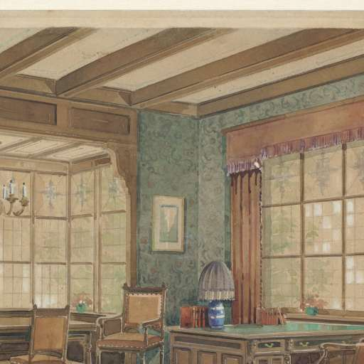 Interieur met boekenkast in renaissance-stijl, Monogrammist HK ...