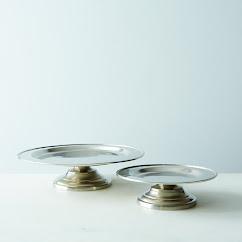 Footed Pewter Serving Platter