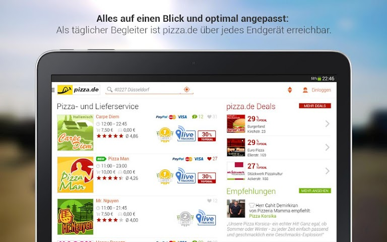 android pizza.de - Essen bestellen Screenshot 1