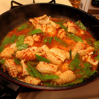 Spicy Squid and Snow Peas.