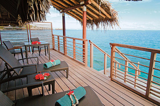 Enjoy direct access to the lagoon from the split-level deck of your villa at the InterContinental Bora Bora Resort & Thalasso Spa during a Paul Gauguin cruise.