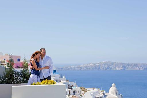 Regent-Seven-Seas-Santorini-overlook - Enjoy a romantic getaway to the Greek Islands on a voyage aboard Seven Seas Voyager.