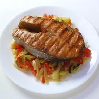 Salmon Steaks on Braised Fennel