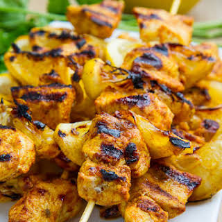 Moroccan Grilled Chicken Kabobs.