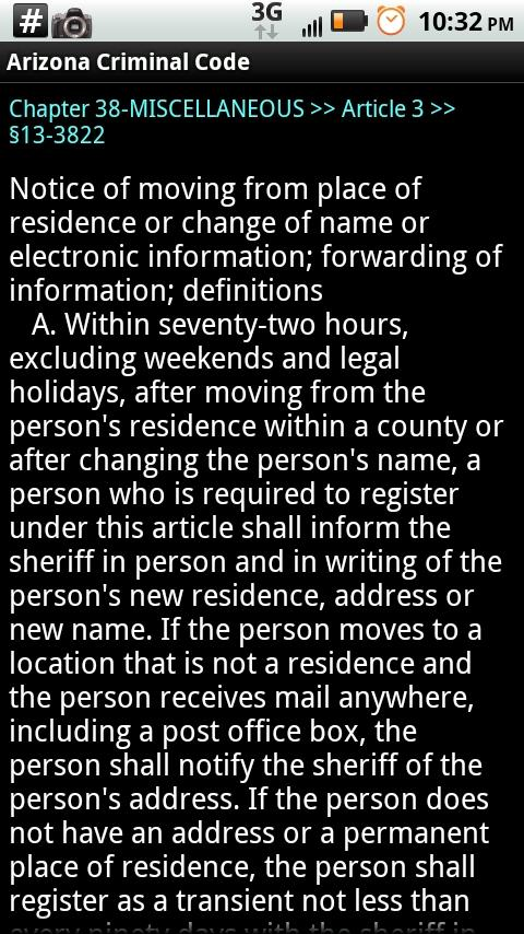 Arizona Criminal Code - screenshot