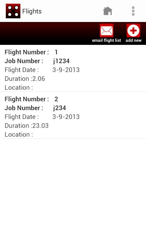 UAV flight log - screenshot