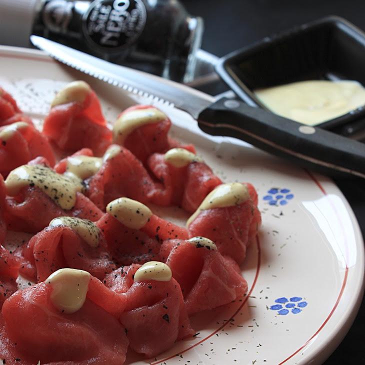 Beef Carpaccio with Mustard and Black Pepper Recipe