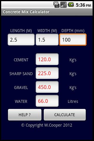 CONCRETE MIX CALCULATOR (UK) - Android Apps on Google PlayCONCRETE MIX CALCULATOR (UK)- screenshot
