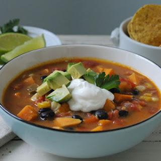 Spicy Black Bean & Sweet Potato Soup.