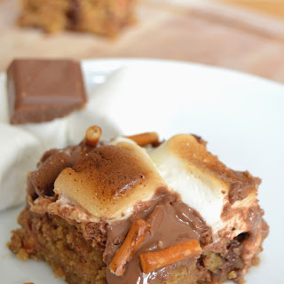 Pretzel Peanut Butter S'mores Cookie Bars