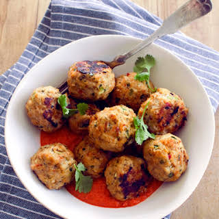 Thai-Spiced Chicken Meatballs with Red Pepper Curry Sauce.