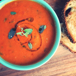 Homemade Tomato Soup with Truffle Grilled Cheese.