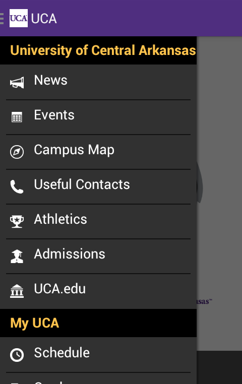 University of Central Arkansas- screenshot