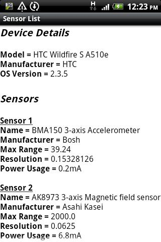 Sensor List- screenshot