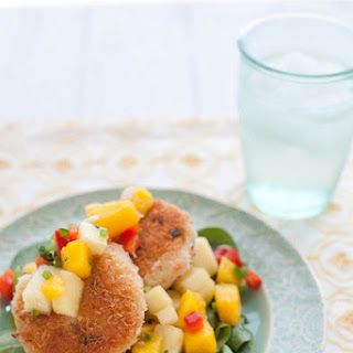 Coconut Shrimp Cakes with Mango Pineapple Salsa.