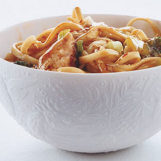 Asian Noodles with Chicken and Scallions.