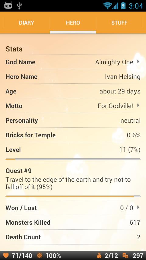 Godville- screenshot