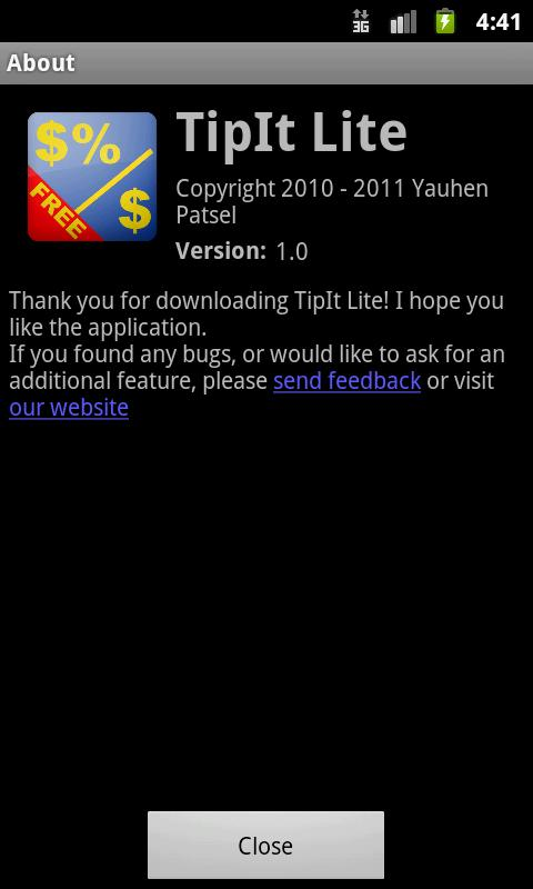 TipIt Lite- screenshot