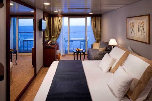 Azamara-VerandahR - Club Veranda: A comfortable Azamara stateroom with veranda to take in the passing scenery.