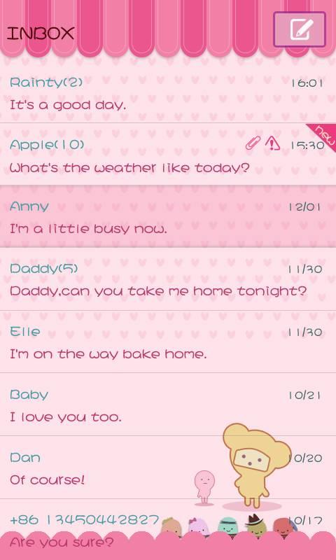GO SMS Pro Pink Sweet theme- screenshot