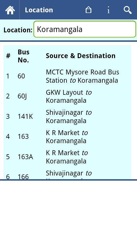 Bangalore BMTC Info - screenshot