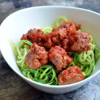 Zucchini Spaghetti (Zoodles!) & Meatballs.