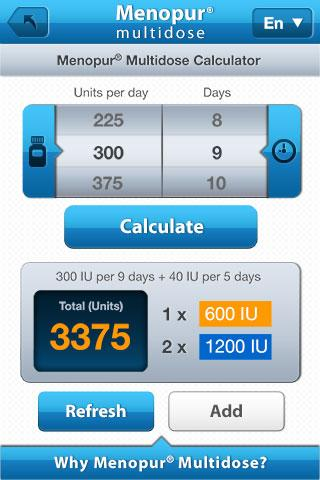 Menopur® Multidose Calculator- screenshot