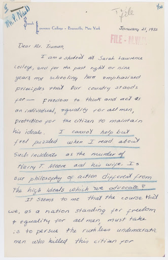 Letter from Miss Arden Rappaport to Harry S. Truman Regarding Harry T. Moore