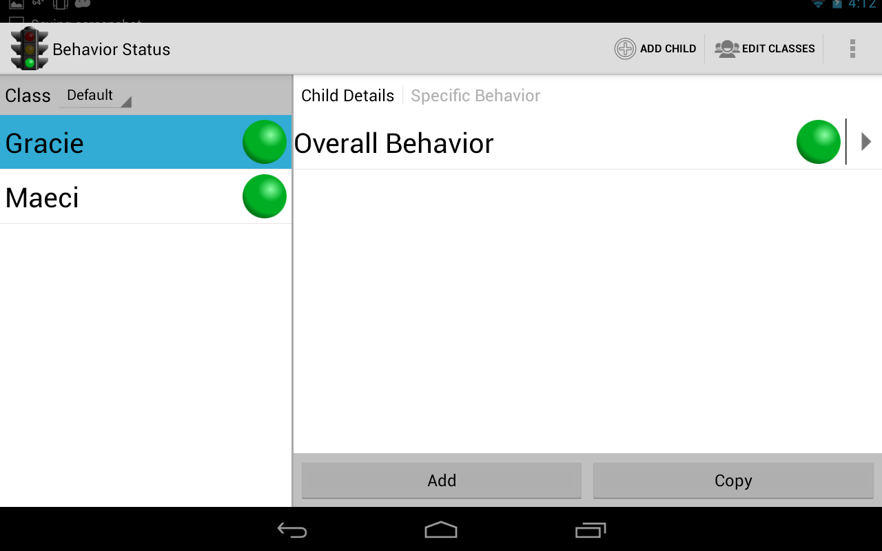 Behavior Status- screenshot