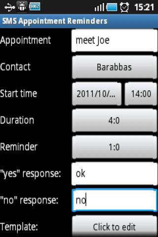 SMS Appointment Reminders - screenshot