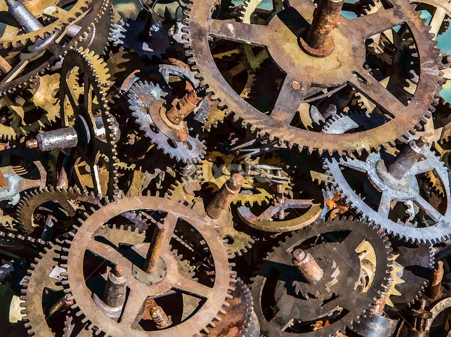 Geared Up by Carl Clay - Artistic Objects Industrial Objects ( sprockets, industrial, painterly, gears )