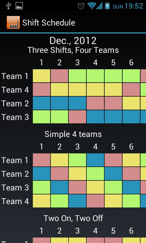 Shift schedule alarm clock android apps on google play for 3 on 3 off shift pattern template