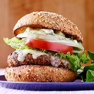 Spicy Cheddar Burgers with Chunky Blue Cheese Aioli.