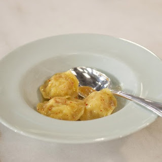Lobster Ravioli with Lobster Vinaigrette.