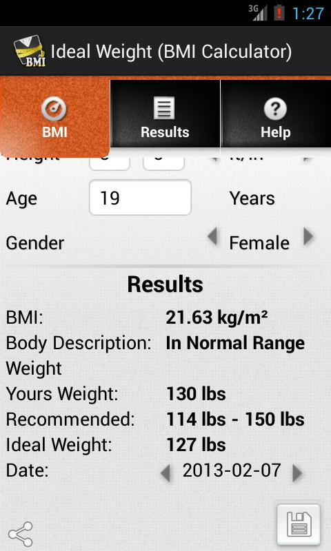 Ideal Weight (BMI Calculator)- screenshot