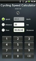 Screenshot of Cycling Speed Calculator