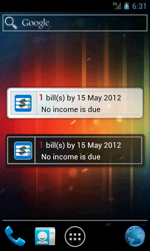 MoBill Budget and Reminder- screenshot