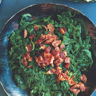 Mustard Greens with Chipotle and Bacon.