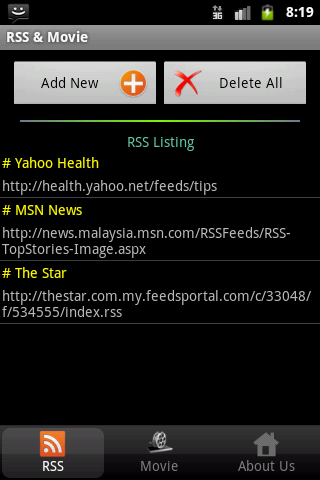 RSS Reader and Movie Showtimes- screenshot