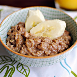 Nutella Oatmeal with Sliced Bananas.