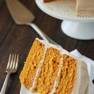 Pumpkin Dream Cake with Cinnamon Maple Cream Cheese Frosting.