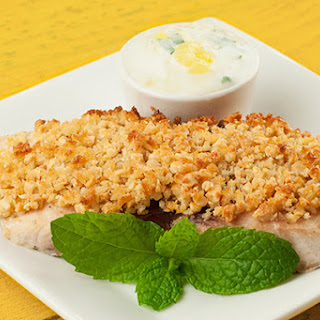 Cashew Crusted Mahi with Pineapple Ginger Raita.