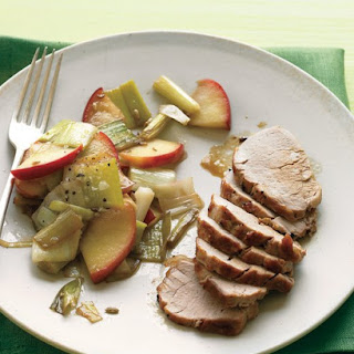 Pork Tenderloin with Sauteed Apples and Leeks