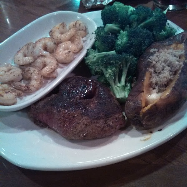 Steak and unlimited grilled shrimp