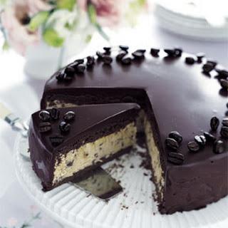Frozen Mocha Cake with Chocolate Ganache Glaze.