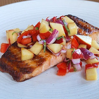 Grilled Salmon w/ Nectarine- Onion Relish