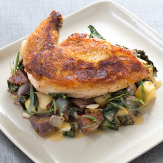 Pan-Roasted Chicken with Lacinato Kale & Purple Potato Hash.