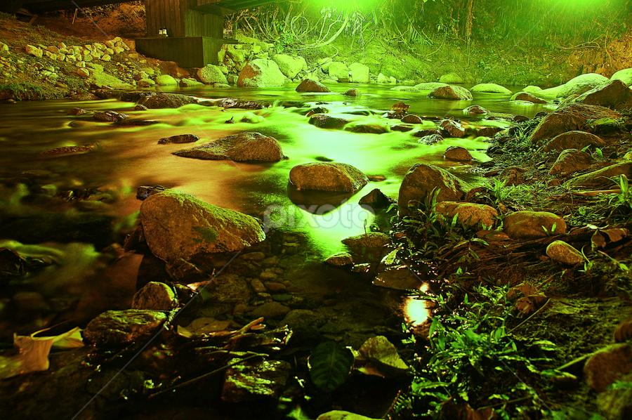 Midnight stream by Md Aziman Abd Aziz - Landscapes Waterscapes ( water, stream, waterscape, slowshutter, nights, tanah aina )